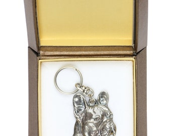 NEW, French Bulldog (right-oriented) , dog keyring, key holder, in casket, limited edition, ArtDog . Dog keyring for dog lovers