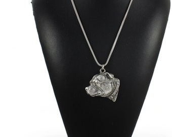 NEW, Staffordshire Bull Terrier, dog necklace, silver chain 925, limited edition, ArtDog