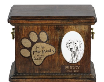 Urn for dog's ashes with ceramic plate and description - Weimeraner, ART-DOG Cremation box, Custom urn.