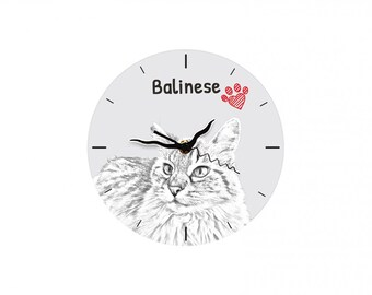 Balinese cat, Free standing MDF floor clock with an image of a cat.