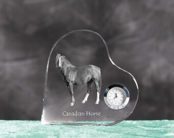 Canadian horse - crystal clock in the shape of a heart with the image of a pure-bred horse.
