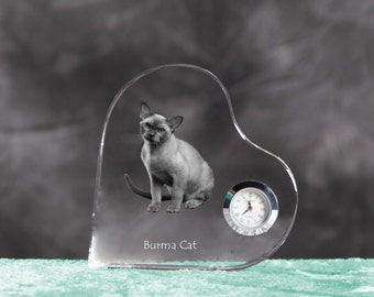 Burmese cat- crystal clock in the shape of a heart with the image of a pure-bred cat.