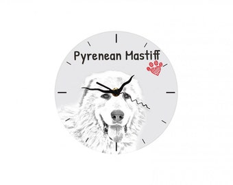 Pyrenean Mastiff, Free standing MDF floor clock with an image of a dog.