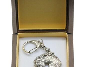 NEW, Kerry Blue Terrier, dog keyring, key holder, in casket, limited edition, ArtDog . Dog keyring for dog lovers