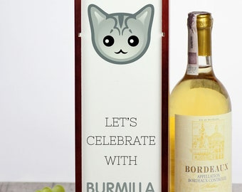 Let's celebrate with Burmilla cat. A wine box with the cute Art-Dog cat