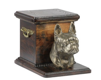 Urn for dog's ashes with a standing statue -Boston Terrier, ART-DOG