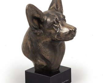Corgi Pembroke, dog marble statue, limited edition, ArtDog. Made of cold cast bronze. Perfect gift. Limited edition