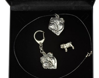 NEW, English Bulldog, dog keyring, necklace and pin in casket, DELUXE set, limited edition, ArtDog . Dog keyring for dog lovers