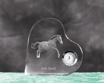Irish Sport Horse- crystal clock in the shape of a heart with the image of a pure-bred horse.