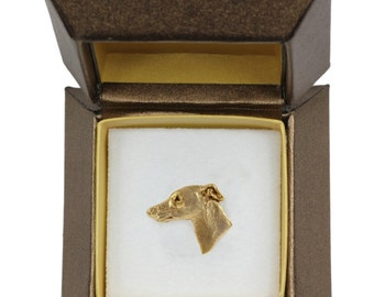 NEW, Whippet, dog pin, in casket, gold plated, limited edition, ArtDog