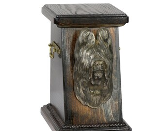 Urn for dog's ashes with a Briard, ART-DOG Cremation box, Custom urn. Cremation box, Custom urn.