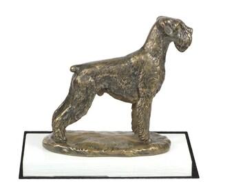 Schnauzer, dog on white wooden base statue, limited edition, ArtDog