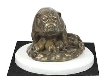 Bulldog, English Bulldog, dog on white wooden base statue, limited edition, ArtDog