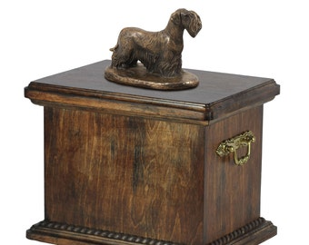 Urn for dog's ashes with a Cesky Terrier statue, ART-DOG Cremation box, Custom urn.