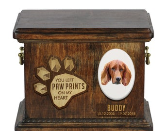 Urn for dog ashes with ceramic plate and sentence - Geometric Setter, ART-DOG. Cremation box, Custom urn.