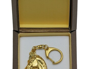 NEW, Arabian horse, millesimal fineness 999, dog keyring, in casket, keychain, limited edition, ArtDog . Dog keyring for dog lovers