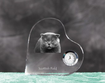 Scottish Fold- crystal clock in the shape of a heart with the image of a pure-bred cat.