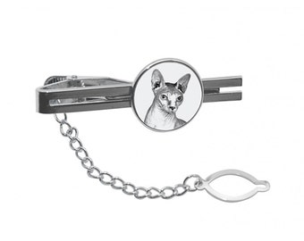NEW! Sphynx cat - Tie pin with an image of a cat.
