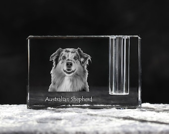 Australian Shepherd , crystal pen holder with dog, souvenir, decoration, limited edition, Collection