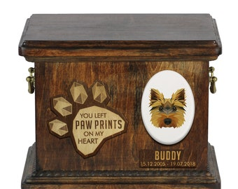 Urn for dog ashes with ceramic plate and sentence - Geometric Yorkshire Terrier, ART-DOG. Cremation box, Custom urn.