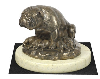 Bulldog, English Bulldog , dog sand marble base statue, limited edition, ArtDog. Made of cold cast bronze. Perfect gift. Limited edition