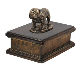 Exclusive Urn for dog's ashes with a Bulldog, English Bulldog statue, ART-DOG. New model Cremation box, Custom urn.