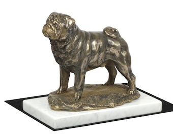 Pug, dog white marble base statue, limited edition, ArtDog. Made of cold cast bronze. Perfect gift. Limited edition