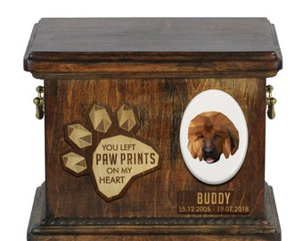 Urn for dog ashes with ceramic plate and sentence - Geometric Tibetan Mastiff, ART-DOG. Cremation box, Custom urn.
