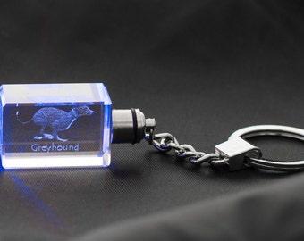 Grey Hound, Dog Crystal Keyring, Keychain, High Quality, Exceptional Gift . Dog keyring for dog lovers