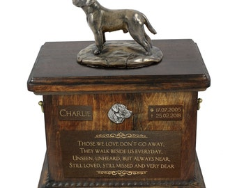 Labrador Retriever - Exclusive Urn for dog ashes with a statue, relief and inscription. ART-DOG. Cremation box, Custom urn.