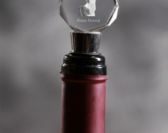 Ibizan Hound, Crystal Wine Stopper with Dog, Wine and Dog Lovers, High Quality, Exceptional Gift