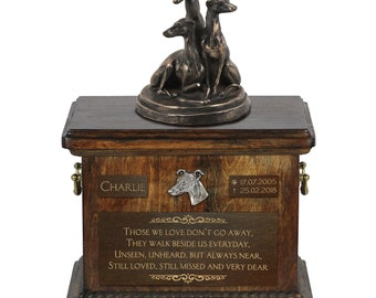 Whippet - Exclusive Urn for dog ashes with a statue, relief and inscription. ART-DOG. Cremation box, Custom urn.