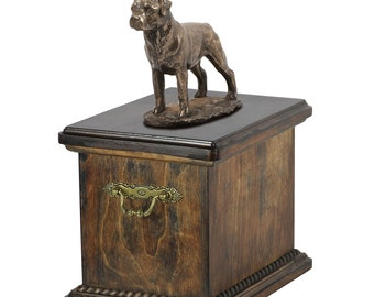 Urn for dog's ashes with a Rottweiler statue, ART-DOG Cremation box, Custom urn.