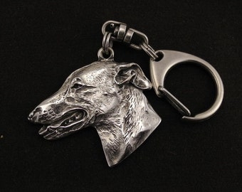Grey Hound, English Greyhound, dog keyring, keychain, limited edition, ArtDog . Dog keyring for dog lovers