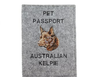 Australian Kelpie - Passport wallet for the dog with embroidered pattern. New product!