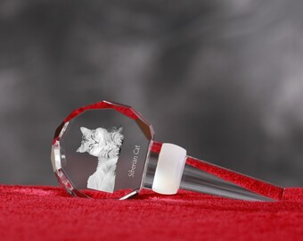 Siberian Cat, Crystal Wine Stopper with cat, Wine and Cat Lovers, High Quality, Exceptional Gift. New Collection