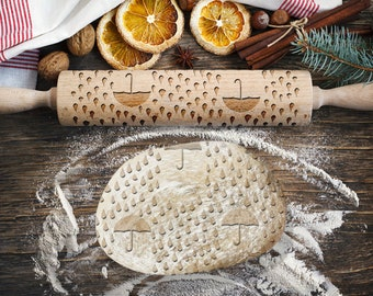 UMBRELLAS. Engraved rolling pin for Cookies, Embossing Rollingpin, Laser Engraved Rolling-pin. Decorating Roller