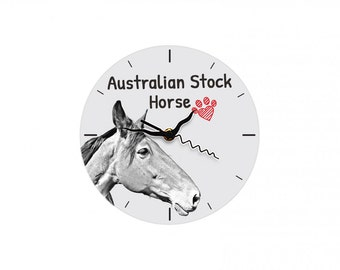Australian Stock Horse, Free standing MDF floor clock with an image of a horse.