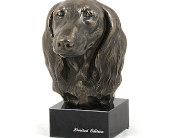 Dachshund Longhaired, dog marble statue, limited edition, ArtDog. Made of cold cast bronze. Perfect gift. Limited edition