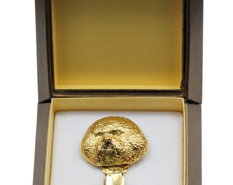 NEW, Bichon Frise, millesimal fineness 999, dog clipring, in casket, dog show ring clip/number holder, limited edition, ArtDog