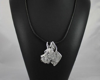 Deutsche Dogge cropped, Great Dane (pointed ears), dog necklace, limited edition, ArtDog