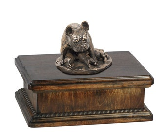 Exclusive Urn for dog's ashes with a French Bulldog mama statue, ART-DOG. New model Cremation box, Custom urn.