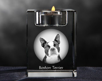 Boston Terrier, crystal candlestick with dog, souvenir, decoration, limited edition, Collection