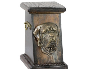 Urn for dog's ashes with a English Mastiff statue, ART-DOG Cremation box, Custom urn.