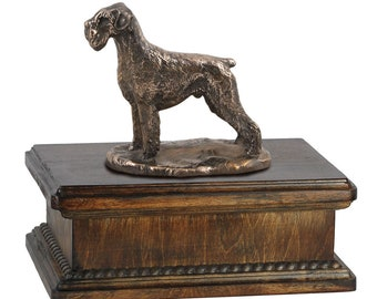 Exclusive Urn for dog's ashes with a Schnauzer uncropped statue, ART-DOG. New model Cremation box, Custom urn.