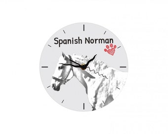 Spanish-Norman horse, Free standing MDF floor clock with an image of a horse.