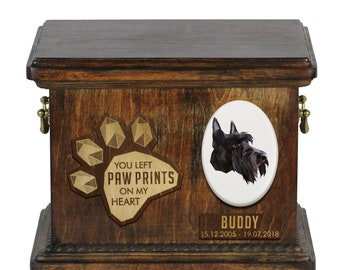 Urn for dog ashes with ceramic plate and sentence - Geometric Scottish Terrier, ART-DOG. Cremation box, Custom urn.