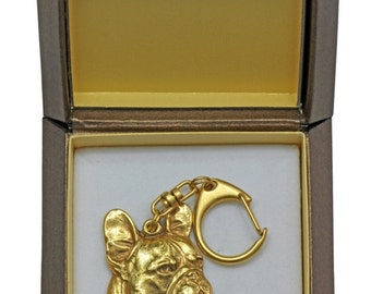 NEW, French Bulldog (right oriented), millesimal fineness 999, dog keyring, in casket, keychain, limited edition, ArtDog