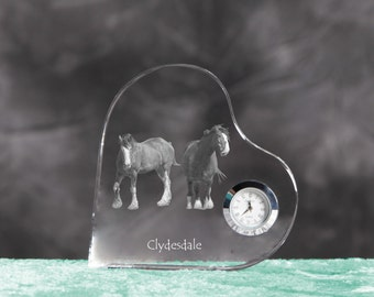 Clydesdale- crystal clock in the shape of a heart with the image of a pure-bred horse.