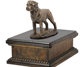 Exclusive Urn for dog's ashes with a Rottweiler statue, ART-DOG. New model Cremation box, Custom urn.